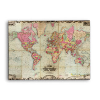 Antique World Map by John Colton, circa 1854 Envelope