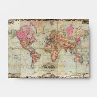 Antique World Map by John Colton, circa 1854 Envelope