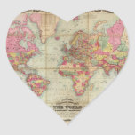 Antique World Map by John Colton, circa 1854 Heart Sticker