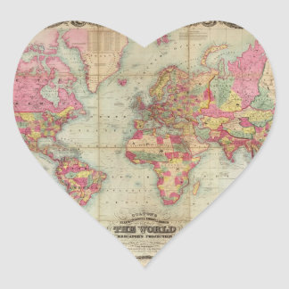 Antique World Map by John Colton, circa 1854 Heart Sticker
