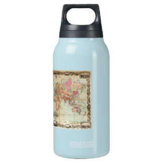 Antique World Map by John Colton, circa 1854 Insulated Water Bottle