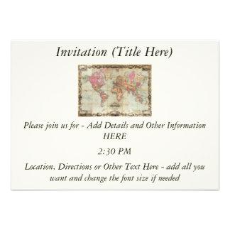 Antique World Map by John Colton, circa 1854 Personalized Invitation