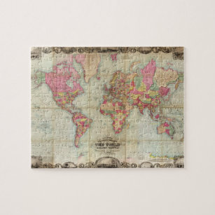 Antique map of the world jigsaw puzzles zazzle antique world map by john colton circa 1854 jigsaw puzzle gumiabroncs Gallery