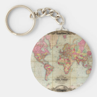 Antique World Map by John Colton, circa 1854 Keychain