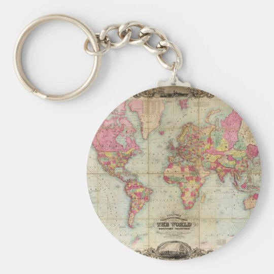 Antique World Map by John Colton, circa 1854 Keychain
