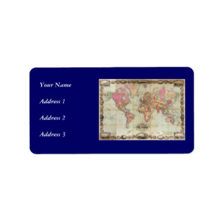 Antique World Map by John Colton circa 1854 Personalized Address Label