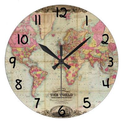 Old world map vintage history designer clock zazzle gumiabroncs Images