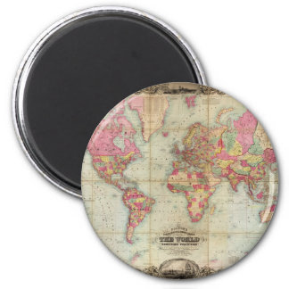 Antique World Map by John Colton, circa 1854 Magnet