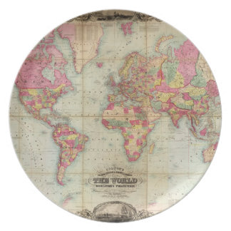 Antique World Map by John Colton, circa 1854 Melamine Plate