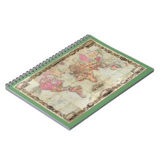 Antique World Map by John Colton, circa 1854 Spiral Notebooks