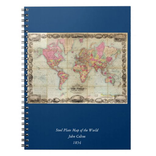 Antique World Map by John Colton, circa 1854 Note Book