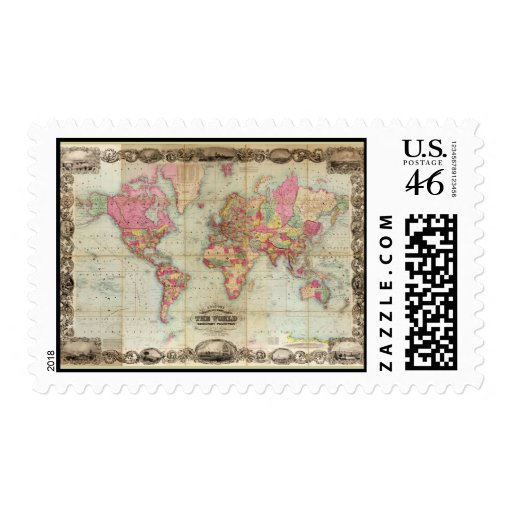 Antique World Map by John Colton, circa 1854 Stamps