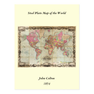 Antique World Map by John Colton, circa 1854 Postcard