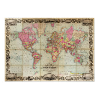 Antique World Map by John Colton, circa 1854 Poster
