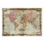 Antique World Map by John Colton, circa 1854 Posters