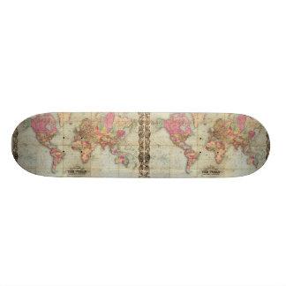 Antique World Map by John Colton, circa 1854 Skateboard Deck