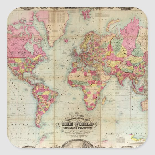 Antique World Map by John Colton, circa 1854 Square Sticker