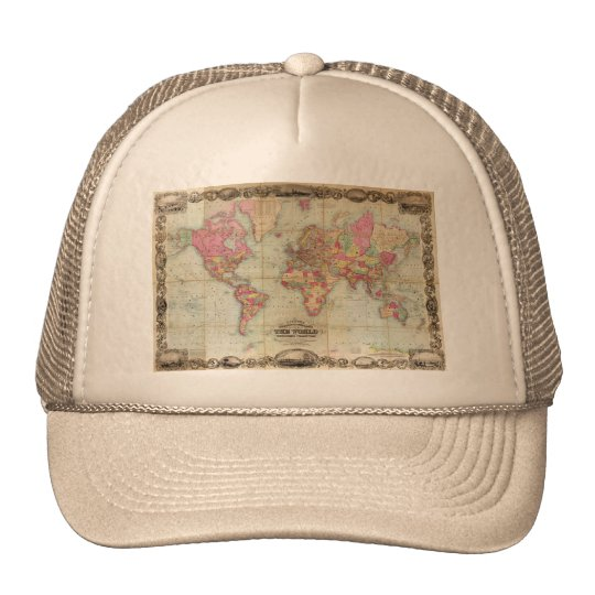 Antique World Map by John Colton, circa 1854 Trucker Hat