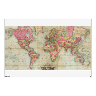 Antique World Map by John Colton, circa 1854 Wall Decal