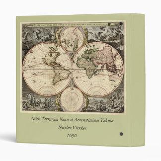 Antique World Map by Nicolao Visscher, circa 1690 3 Ring Binder