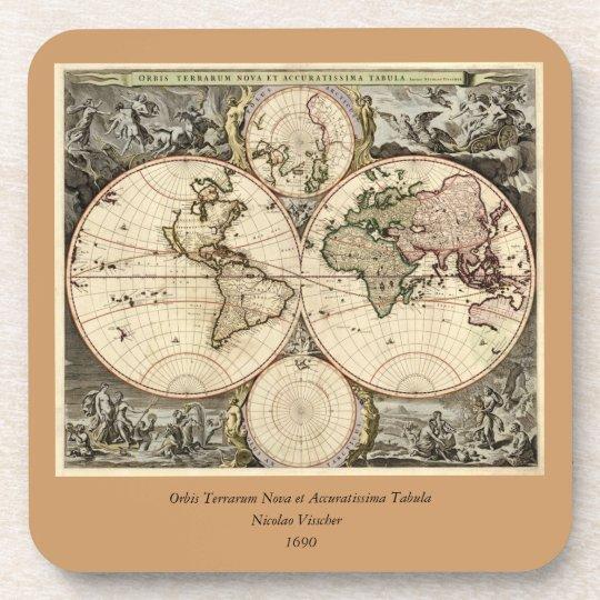 Antique World Map by Nicolao Visscher, circa 1690 Beverage Coaster