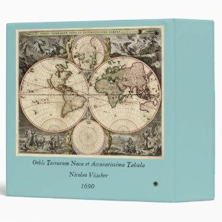 Antique World Map by Nicolao Visscher, circa 1690 Binder