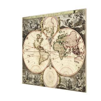 Antique World Map by Nicolao Visscher, circa 1690 Canvas Print
