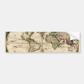 Antique World Map by Nicolao Visscher, circa 1690 Car Bumper Sticker