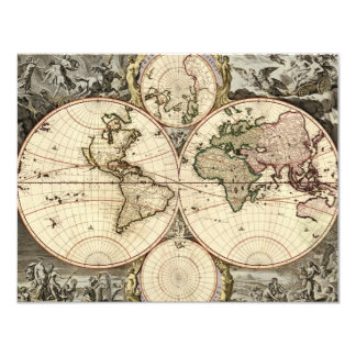 Antique World Map by Nicolao Visscher, circa 1690 Card