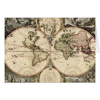 Antique World Map by Nicolao Visscher, circa 1690 Card