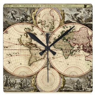 Antique World Map by Nicolao Visscher, circa 1690 Wall Clocks