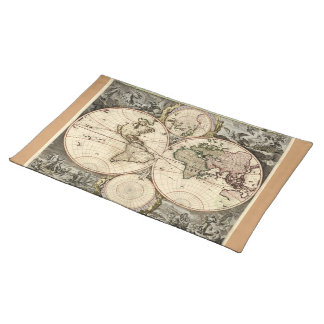 Antique World Map by Nicolao Visscher, circa 1690 Cloth Placemat