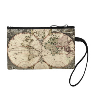 Antique World Map by Nicolao Visscher, circa 1690 Coin Purse
