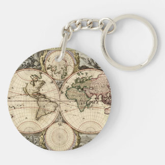 Antique World Map by Nicolao Visscher, circa 1690 Double-Sided Round Acrylic Keychain