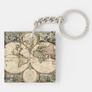 Antique World Map by Nicolao Visscher, circa 1690 Double-Sided Square Acrylic Keychain