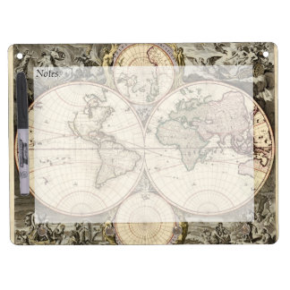 Antique World Map by Nicolao Visscher, circa 1690 Dry Erase Board With Keychain Holder