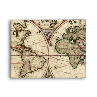 Antique World Map by Nicolao Visscher, circa 1690 Envelope