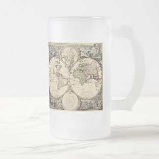 Antique World Map by Nicolao Visscher, circa 1690 Frosted Glass Beer Mug