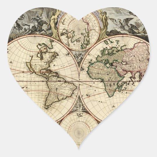 Antique World Map by Nicolao Visscher, circa 1690 Heart Sticker