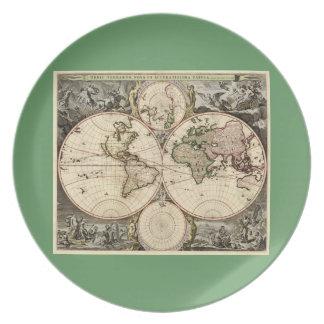 Antique World Map by Nicolao Visscher, circa 1690 Melamine Plate