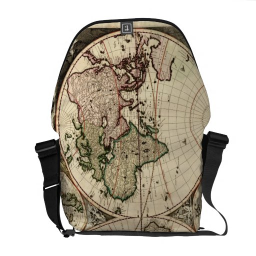 Antique World Map by Nicolao Visscher, circa 1690 Courier Bags