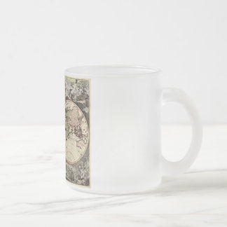 Antique World Map by Nicolao Visscher, circa 1690 10 Oz Frosted Glass Coffee Mug