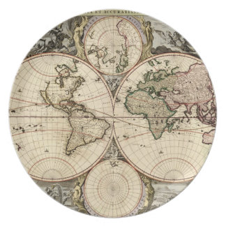 Antique World Map by Nicolao Visscher, circa 1690 Plate