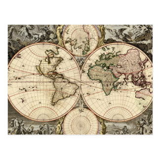 Antique World Map by Nicolao Visscher, circa 1690 Postcard
