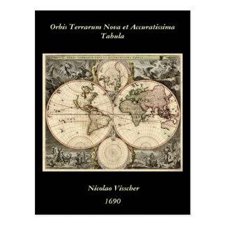 Antique World Map by Nicolao Visscher, circa 1690 Postcard