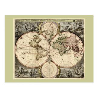 Antique World Map by Nicolao Visscher, circa 1690 Post Card