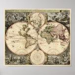 Antique World Map by Nicolao Visscher, circa 1690 Posters