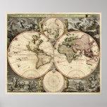 Antique World Map by Nicolao Visscher, circa 1690 Poster