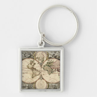 Antique World Map by Nicolao Visscher, circa 1690 Silver-Colored Square Keychain