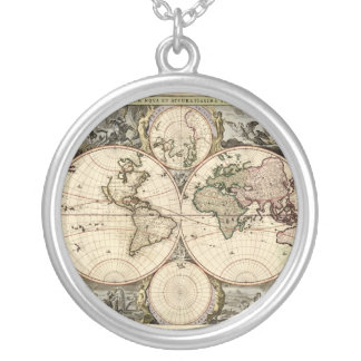 Antique World Map by Nicolao Visscher, circa 1690 Silver Plated Necklace